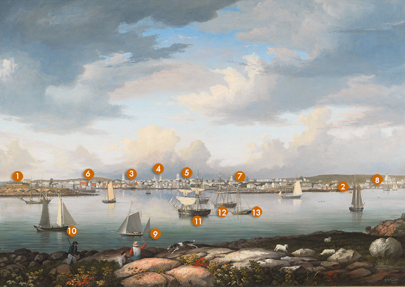 Fitz Henry Lane (1804-1865), Gloucester Harbor from Rocky Neck, 1844. Oil on canvas. [Acc. #1289.a]