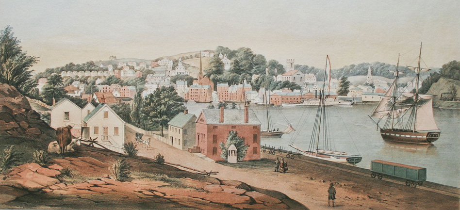 Fitz Henry Lane, View of Norwich, from the West Side of the River [detail], 1849. Colored lithograph on paper. Gift of Edward L. Stone, 1972. A Wendy Shadwell Bequest in the year 2017 from the American Historical Print Collectors Society provided funding for the conservation of this print [Acc. #2067].