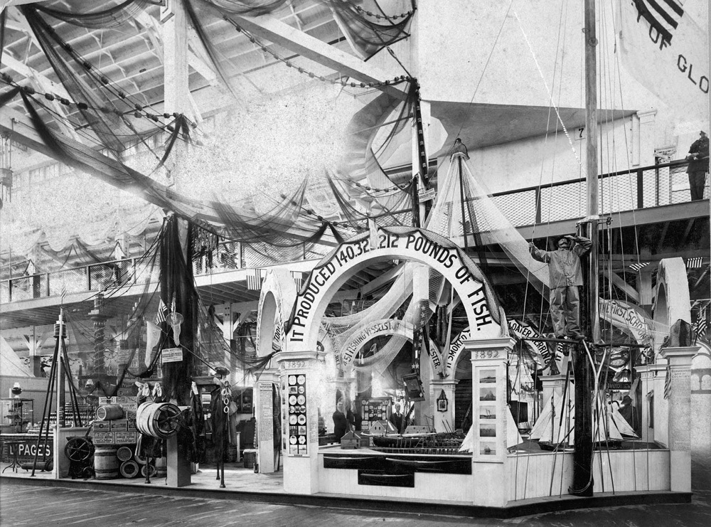 Photo from the Cape Ann Museum Library & Archives of the Gloucester Harbor diorama at the 1893 Columbian Exposition, Chicago World's Fair.