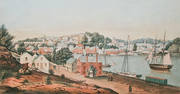 "Fitz Henry Lane (1804-1865), ""View of Norwich, from the West Side of the River"" [detail]. Colored lithograph on paper. Drawn by F. H. Lane. Lithograph by Sarony & Major Lithography, New York. Published by A. Conant, 1849. Collection of the Cape Ann Museum. Gift of Edward L. Stone, 1972. Conservation funded by Wendy Shadwell's Bequest to the American Historical Print Collectors Society."