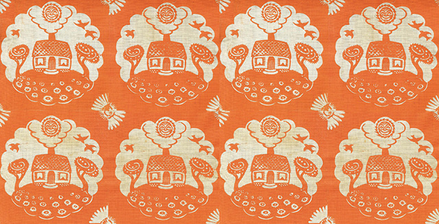 Virginia Lee Demetrios (1909–1968), Little House, undated. Ink on cotton. Folly Cove Designers Collection, Cape Ann Museum.
