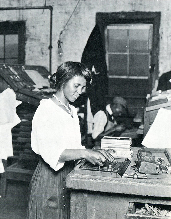 """Black woman setting type in a southern print shop."" Photo: Lewis W. Hine., c. 1920, from Women at Work: 153 Photographs by Lewis W. Hine. Dover, 1981."