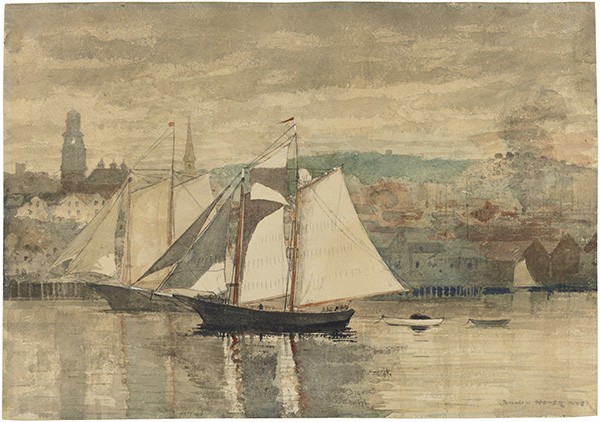 "Image credit: Winslow Homer (1836–1910), Gloucester Schooners and Waterboat (previously Gloucester Schooners and Sloop), 1880. Transparent and opaque watercolor over traces of graphite with scraping on heavy wove paper, 13 13/16"" x 19 3/4"". Philadelphia Museum of Art, Gift of Dr. and Mrs. George Woodward, #1939-7-9."