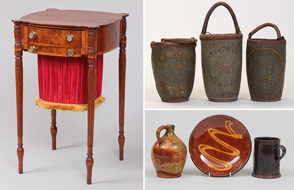 A selection of household accessories, from the collection of the Cape Ann Museum.