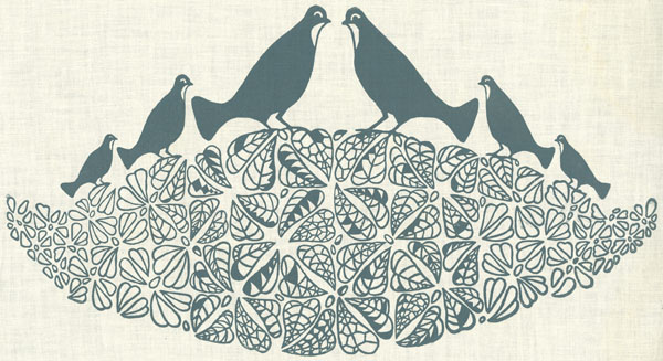 Elizabeth Iarrobino, Bobwhite. Ink on cotton. Folly Cove Designers. Collection of the Cape Ann Museum.