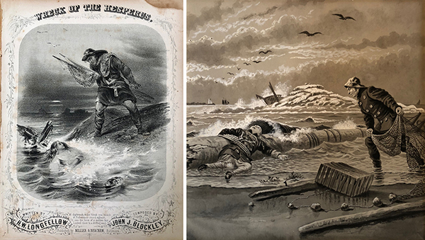(left) Cover of sheet music for John J. Blockley and H. W. Longfellow, The Wreck of the Hesperus (Baltimore: Miller & Beacham, n.d.). Courtesy of the American Antiquarian Society. (right) Joseph Boggs Beale's Illustrations of Henry Wadsworth Longfellow's The Wreck of the Hesperus (1894). Courtesy of George J. Mitchell Department of Special Collections & Archives, Bowdoin College Library.