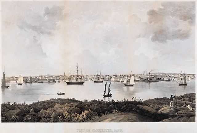 View of Gloucester, Mass. Lithograph on paper. Drawn by F. H. Lane. Lithograph by L. H. Bradford & Company, 1859. Published by Procter Brothers, Gloucester. Collection of the Cape Ann Museum. Gift of Mrs. Percy C. Proctor, 1940.