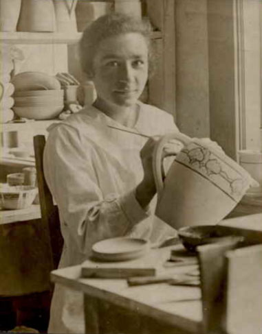 Lila Shapiro at the Paul Revere Pottery, c. 1910s. (Private Collection).