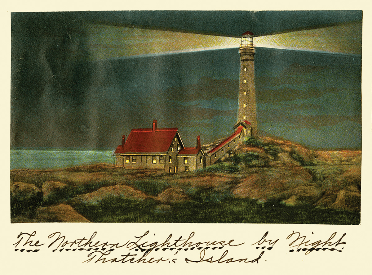 Northern lighthouse, Thachers Island. Postcard from the collection of the Cape Ann Museum.