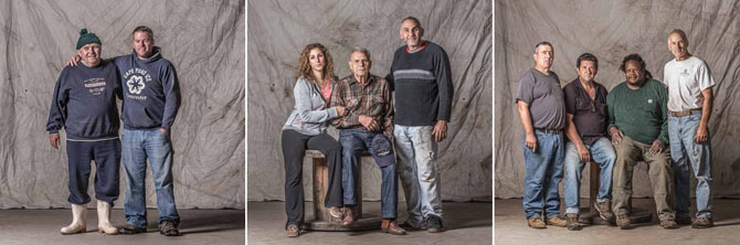 Photographs of Gloucester people in the fishing industry, 2014, by Jim Hooper from exhibtion catalog to Working Waterfront at the Cape Ann Museum.