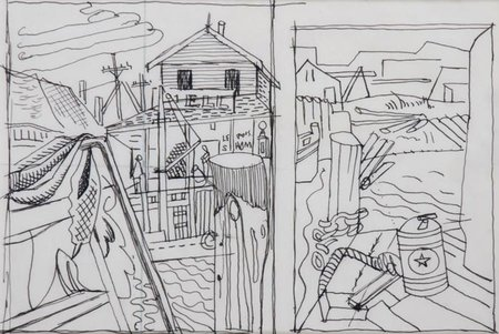 "Sketchbook 3-3, Drawing for ""Black Roofs"" and ""Dock, Still Life"""