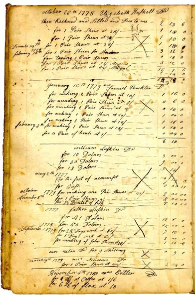 A page from the Account Book of Thomas Lufkin dated 1775–1835