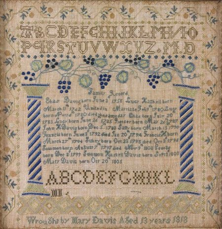 A sampler stitched by Captain Davis's daughter Mary