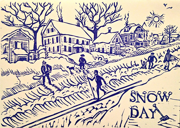 """Snow Day,"" linoleum block print by Mary Rhinelander."