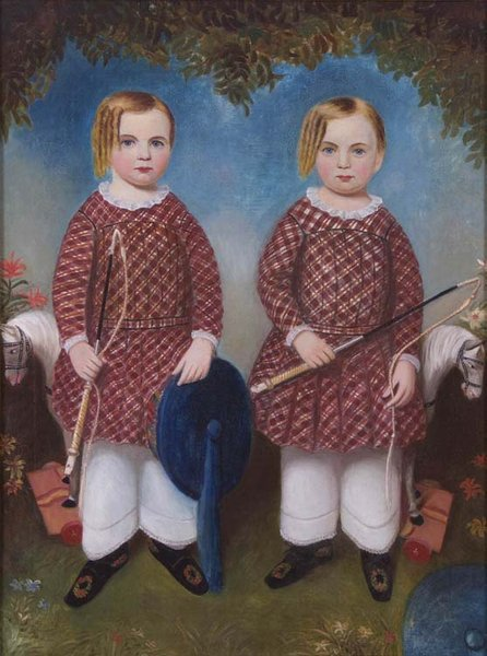 "Moses B. Russell, ""The Wonson Twins,"" c. 1846, oil on canvas, gift of Margaret Farrell Lynch, 1994 [acc. #1994.81]"