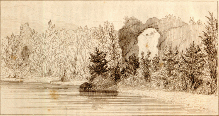 "Image: Sarah Freeman Clarke, ""Arched Rock from the Water,"" illustration #6 from Summer on the Lakes."