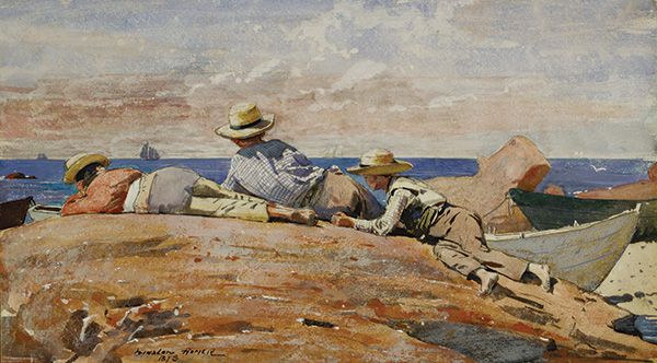 "Winslow Homer (1836–1910), ""Three Boys on the Shore"", 1873. Gouache and watercolor on paper mounted on board. Terra Foundation for American Art, Daniel J. Terra Collection, 1999.75."