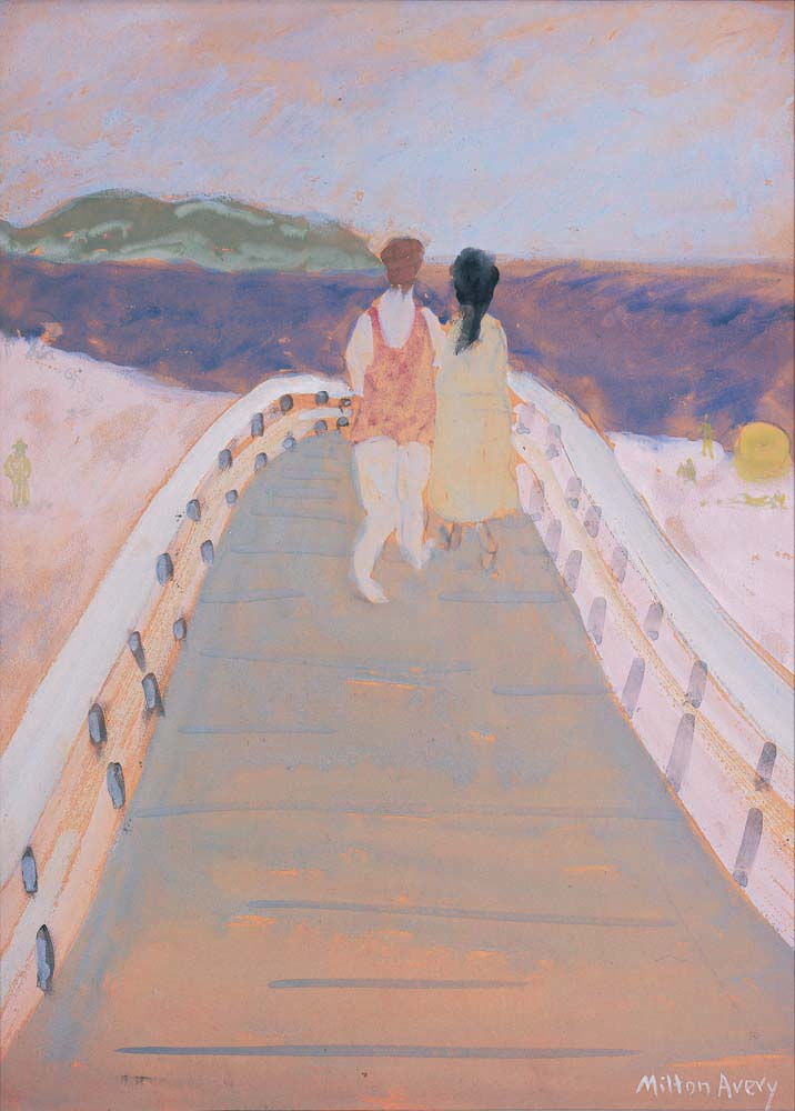 Milton Avery (1885-1965). Bridge to the Sea, 1937. Gouache on paper. Gift of Mr. & Mrs. Robert L. French, 1989. [Acc. #2669-12]