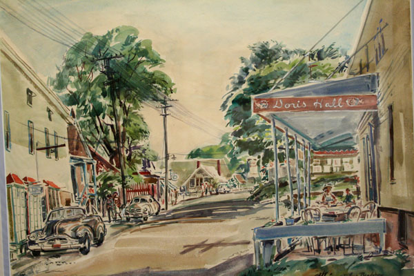 Robert Bradshaw (1915 - 2004). Rocky Neck Avenue & the Doris Hall Gallery (undated). Watercolor on paper. Private Collection. Courtesy of the Cape Ann Museum.
