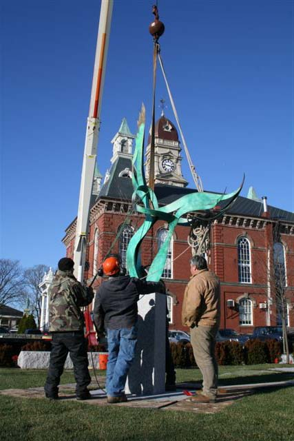 "Installation of John Raimondi's ""Dance of the Cranes"" in the Museum's new park, winter 2012."