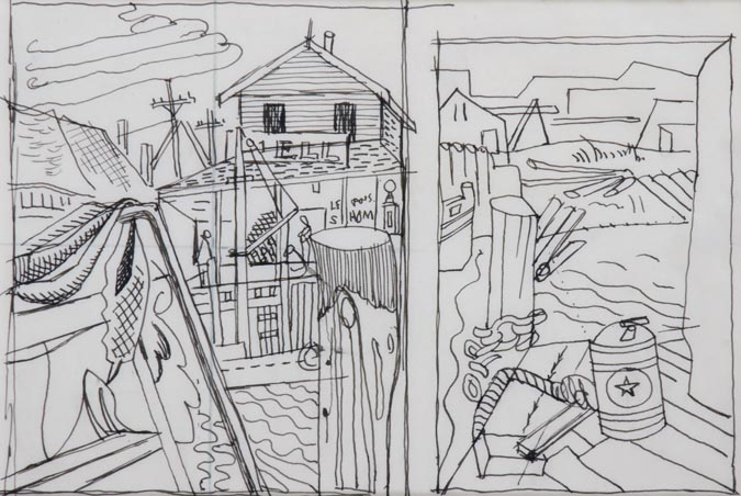 "Stuart Davis (1894-1964). Sketchbook 3-3, drawing for ""Black Roofs"" and ""Dock, Still Life,"" c. 1930. Ink on paper. Gift of Earl Davis, 2001. [acc. no. 2001.14.3]"