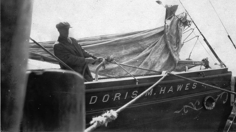 Crewman on swordfisherman Doris M. Hawes. c1930. From Gardner Lamson Collection, Cape Ann Museum.