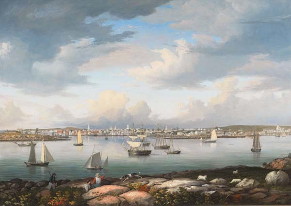 Fitz Henry Lane (1804-1865). Gloucester Harbor from Rocky Neck, 1844. Oil on canvas. Gift of Jane Parker Stacy, 1948. [Acc. #1289a]