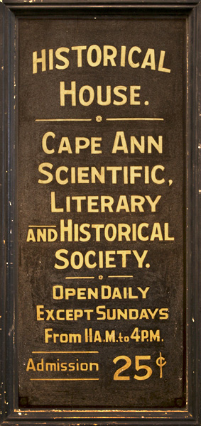 Sign for the Cape Ann Scientific, Literary and Historical Society.