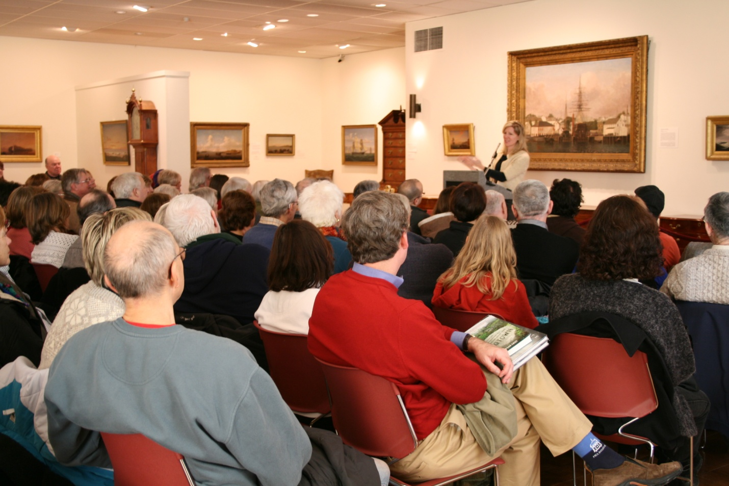 Elyssa East giving a book talk in the Lane Gallery, 2010.
