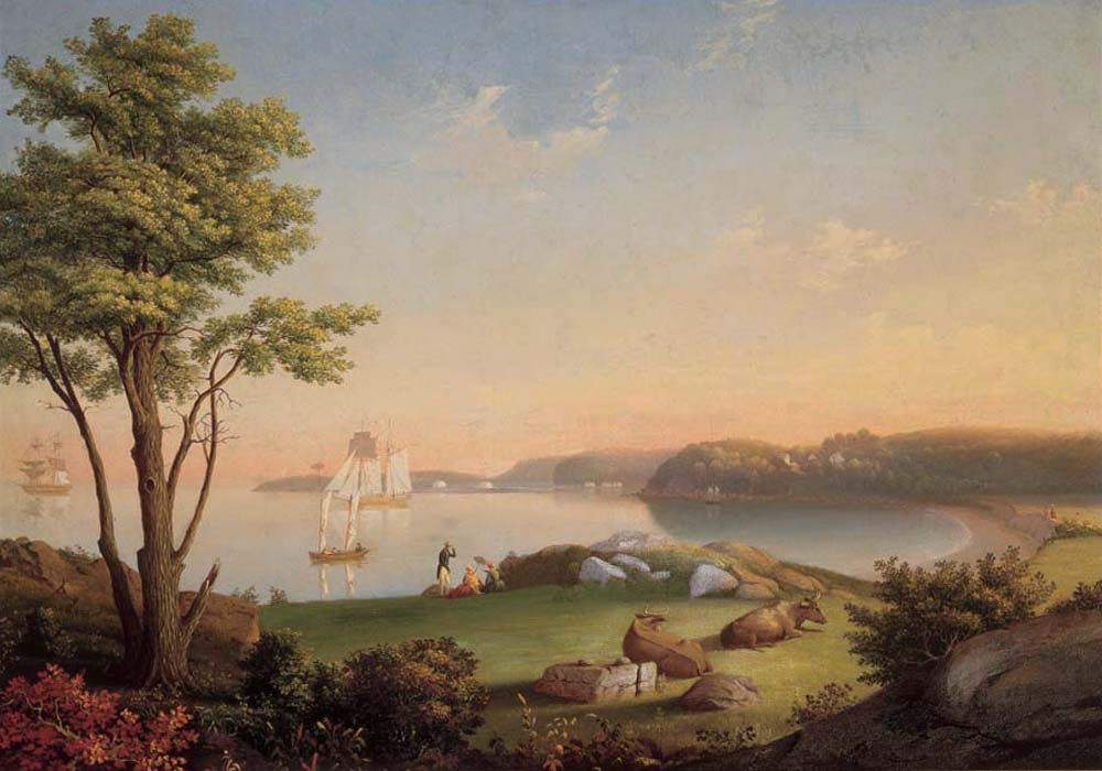 Mary Blood Mellen (1819-1886). Field Beach, Stage Fort Park, c. 1850. Oil on canvas mounted on board. Gift of Jean Stanley Dise, 1964. [acc. no. 2019.2]