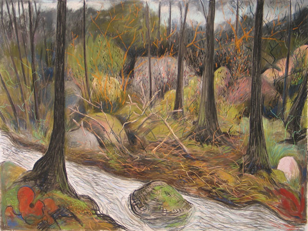 Gabrielle Barzaghi, The Stream, 2012. Pastel and charcoal on paper. Collection of the Cape Ann Museum. Gift of the Artist, 2012.